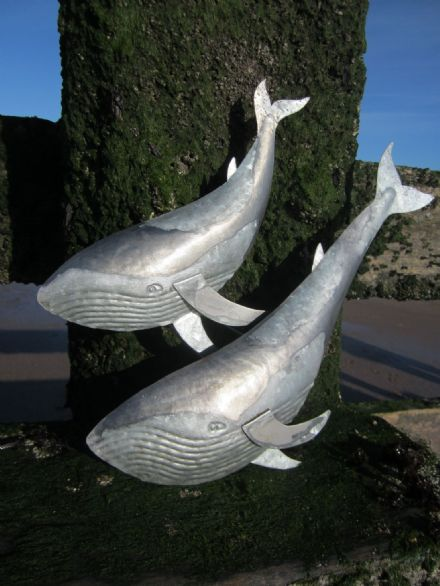 Duo of Blue Whales Metal Coastal Wall Art